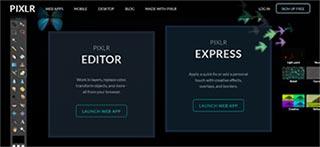 home page di pixlr.com